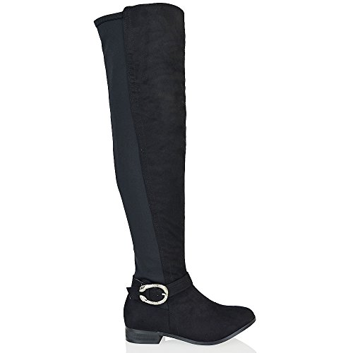Elastic Over Zip ESSEX Heel Black GLAM The Ladies Knee Block New Buckle Stretch Boots Faux Womens Suede High tq7zq