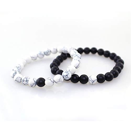 VBTY Beaded Stretch Bracelet, Stone Beads,Hot 2Pcs/Set Couples Distance Bracelet Classic Natural Stone White and Black Yin Yang Beaded Bracelets for Men Women Best -