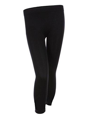 - Mb Trend Seamless Solid Capri Length Leggings, One Size, Black