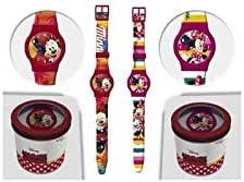 Minnie Reloj de pulsera analogio con Caja de Hojalata Disney Minnie Mouse Niños