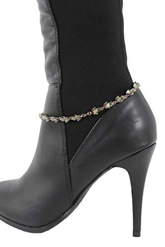 (Women Boot Bracelet Gunmetal Metal Chain Anklet Shoe Filigree Leaves Charm Bling)