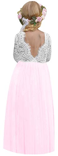 2Bunnies Girl Peony Lace Back A-Line Straight Tutu Tulle Party Flower Girl Dresses (Lotus Pink Maxi, 4T)]()