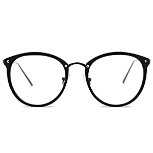 Amomoma Fashion Round Eyewear Frame Eyeglasses Optical Frame Clear Lens Glasses Matte Black/Gunmetal