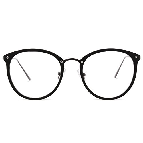 Amomoma Fashion Round Eyewear Frame Eyeglasses Optical Frame Clear Lens Glasses Matte (Eye Frames)