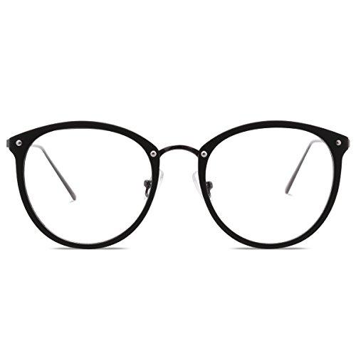 Amomoma Fashion Round Eyewear Frame Eyeglasses Optical Frame Clear Lens Glasses Matte - Matte Prescription Glasses Black