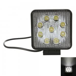 27W 9 LED 6500K Square Car Engineering Spotlight Lamp White Light