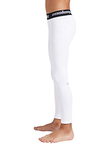 , Large COOLOMG Boys Girls Thermal Compression Pants Base Layer Tights Sports Fitness Running White only Pants