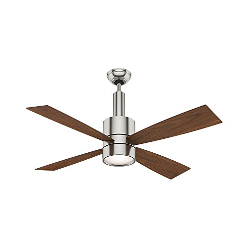 Casablanca 59068 Bullet 54-Inch Brushed Nickel Ceiling Fan with Four Walnut/Burnt Walnut Blades and a Light Kit ()