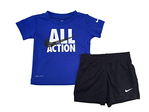 Nike Boy`s Dri-Fit T-Shirt & Shorts 2 Piece Set (Black(66F028-023)/White/Grey, 4T)