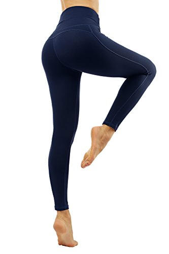 Lopie Yoga Pants for Women high Waist with Pockets Stretch Tummy Control Non See-Through Workout Leggings (XL, Deep Blue)
