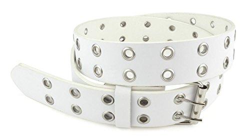 Belle Donne - Women's Double Grommet Leather Jeans Belt, White , Size Medium (Womens White Belt)
