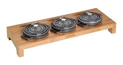(Staub Cast Iron - 1190698 - 3 Mini Casseroles Display Shelf- Bamboo)