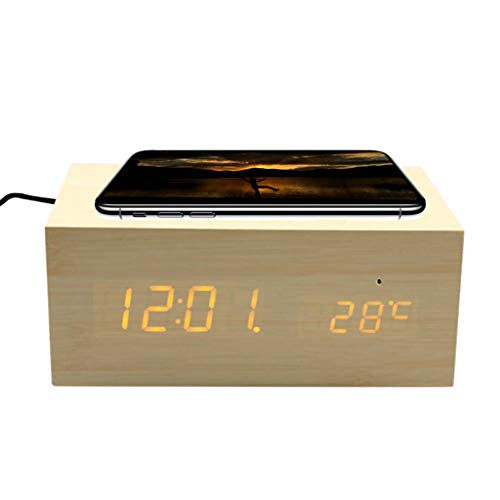 Wireless Bluetooth Speaker, Wooden Speaker Mini Alarm Clock with NFC/LED Temperature Bluetooth Call Touch AUX Playback Double Speaker with Qi Wireless Charging Suitable for Family Outdoor,Beige