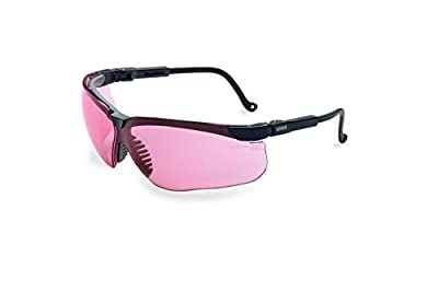 Uvex by Honeywell Genesis Safety Glasses, Black Frame with SCT-Vermillion Lens & HydroShield Anti-Fog Coating (S3210HS)