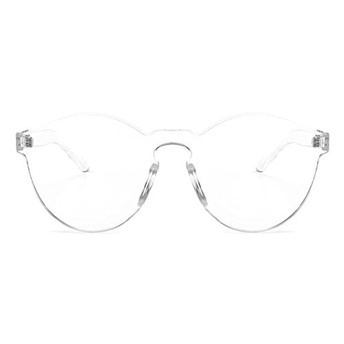 Armear Oversized One Piece Rimless Transparent See Through Unisex Sunglasses (White transperant, 58) Transparent Mens Sunglasses