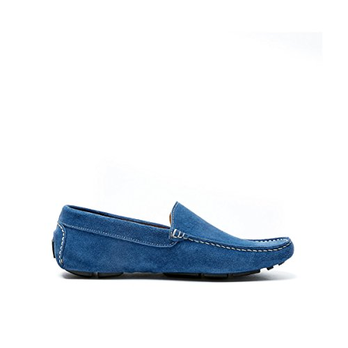 British Passport Mocassino con Decorazione Plain di Colore Denim. Plain Mocassin Denim. Uomo.