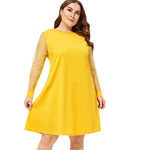 Goddessvan Women's Summer Pearl Sleeve Mesh Plus Size Casual Round Neck Cocktail Wedding Party Dress Yellow ()