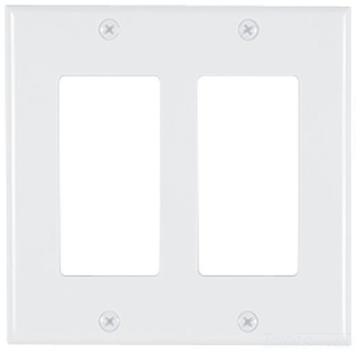 Allen Tel Products AT60-2-15 Double Gang, 2 Ports Versatap Designer Series Faceplate, Plastic, White