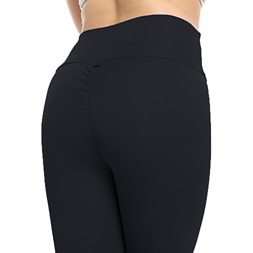 b6cac0c9b9f2b Women s High Waisted Bottom Scrunch Leggings Ruched Yoga Pants Push up Butt  Lift Trousers Workout Black
