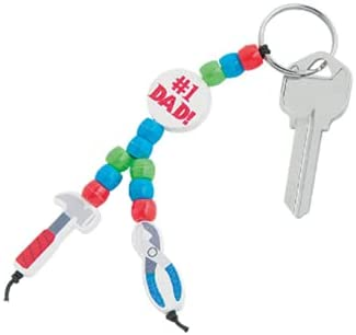 """P.O. Pera Online Beaded """"#1 Dad"""" Tool Keychain Craft Kit Makes 12"""