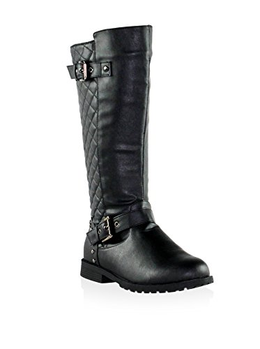 Olivia Miller Women's 'Shelby' Black Quilted Studded Buckle Riding Boots 6 B(M) (Quilted Buckle)