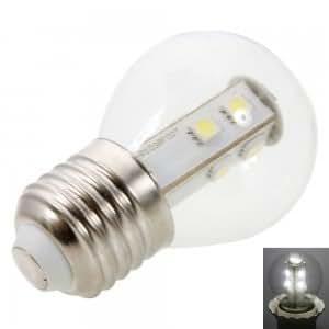 E27 1.5W 10 LED 80LM SMD5050 6000-6500K White LED Light Transparent Ball Bulb (220V)