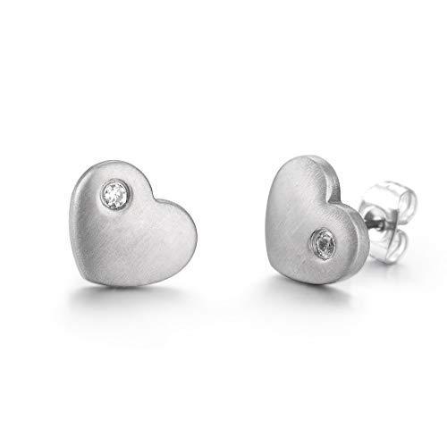 Heart Titanium Earrings - TGNEL Titanium Small Stud Earrings for Men Women with Brilliant CZ Stone Inlay Geometric Heart Square Round Design (TIE034)