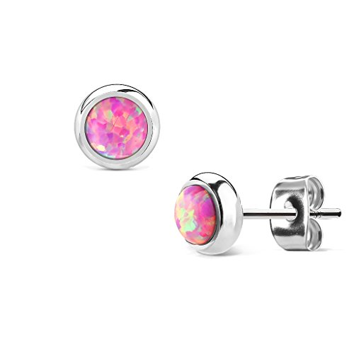 (MoBody Created-Opal Round Stud Earrings Silver Surgical Stainless Steel Womens Jewelry (Pink Created-Opal) )