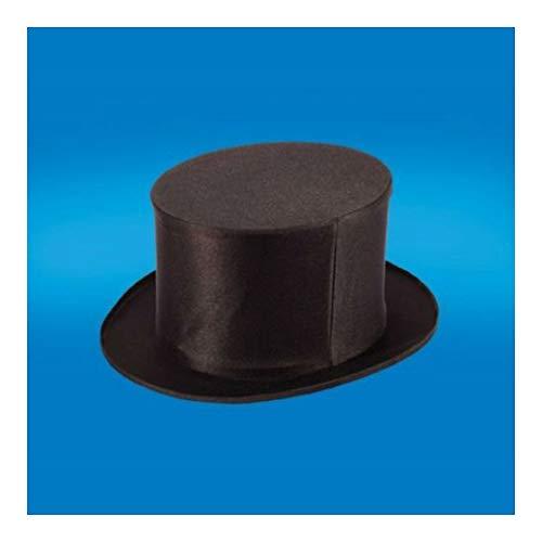 (Adult Black Folding Collapsible TOP HAT Dancers Magic Magicians Costume HAT- Large)