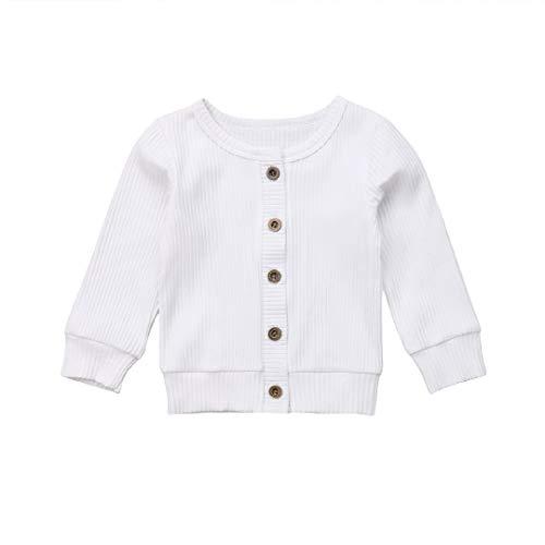 Seyurigaoka Newborn Baby Boys Girls Knit Cardigan Sweater, Infant Button-Down Cotton Sweater, Unisex Baby Clothes (White, 0-3 Months) (White Cardigan Baby Girl)