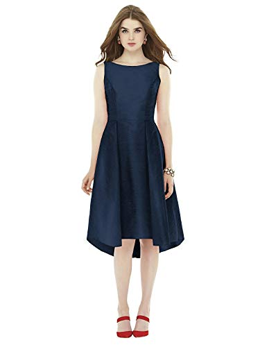 - Alfred Sung Dessy Women's Midi Length Sleeveless Dupioni Dress Bateau Neckline and V Back - Midnight - Size 6