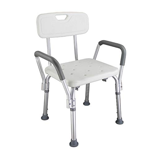 Shower Chair Bath Chair Bench Seat with Armrests Back Shower Seat Stool Heavey Duty 300 lbs Handicap Shower Chair Aluminium Alloy 6 Height Adjust Suction Cup Bathtub Lift Chair Baby Seniors Elderly ()