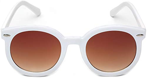 3df01111fc8 Amazon.com: Vintage Retro 80's Round Frame Women's Fashion Sunglasses:  Clothing