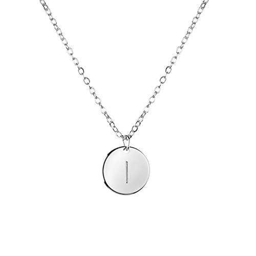 Silver Love Disc (Silver Initial Necklace Initial Disc Necklace Mothers Day Gift Bridesmaid Jewelry Gift for Her (I) - CN)