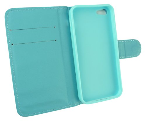 Emartbuy® Pack Stylet Pour Apple Iphone 5 5S Diamante Wallet Case / Étui / Housse / Pochette Bleu Avec Emplacements Pour Les Cartes De Crédit + Mini Metallic Bleu Stylet + Protecteur D'Écran Lcd
