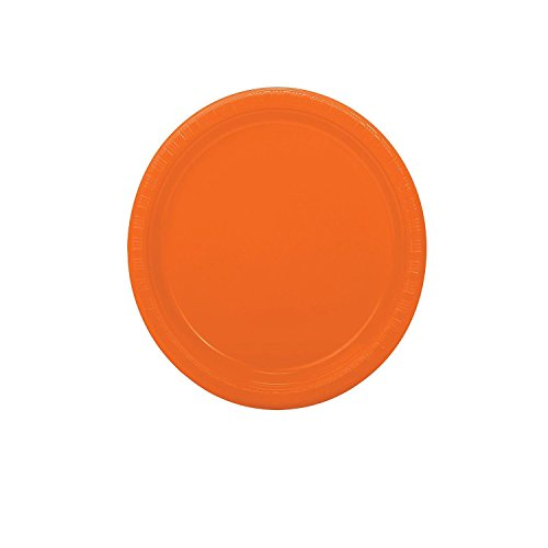 Bargain World Orange Dessert Plates (With Sticky (Orange 7' Plastic Plates)