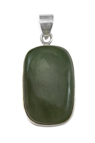 Sterling Silver Nephrite Jade Pendant (Sterling Silver Nephrite Green Jade Necklace Pendant Large Oval Cut Simple)