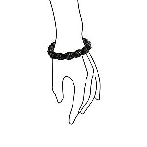 Bling Jewelry Shamballa Inspired Bracelet Unisex Black Crystal Beads Alloy