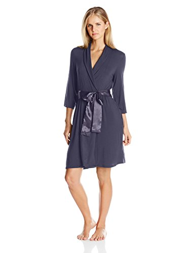 Midnight by Carole Hochman Women's Short Modal Robe, Graystone, Medium ()