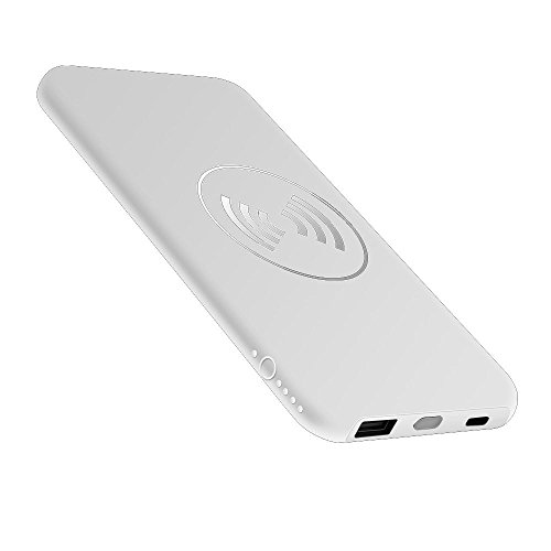 10000mAh Wireless Charge Power Bank 2 in 1 for iphone and android (White)