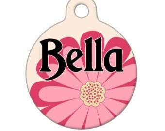 QMPetIDTag - Bella Flower Custom Name on Front -