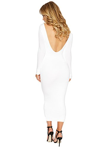 Langarm Rückenfrei Rückenausschnitt Rückenfreie Langes Lange Lang Long Maxi Maxikleid Bodycon Etui Etuikleid Figurbetontes Kleid Weiß sOF5p3odAU