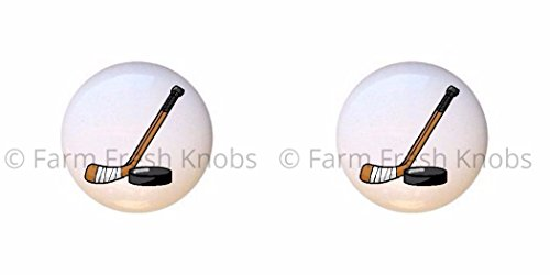 SET OF 2 KNOBS - Design #129209 Hockey - Sports and Recreation - DECORATIVE Glossy CERAMIC Cupboard Cabinet PULLS Dresser Drawer KNOBS