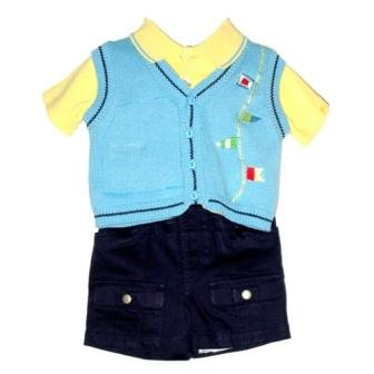 SIZE: 3/6M - Sweater Vest with Embroidery Shirt and Twill Shorts by BT Kids (3/6M)