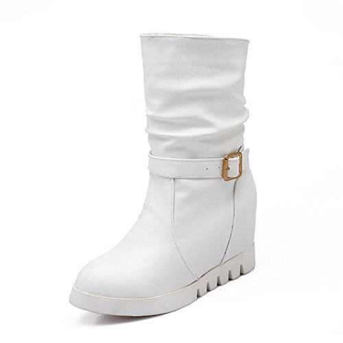 Boots AgooLar White Mid Women's Top Materials Round Inside On Closed heighten Blend Toe Pull vp1w6x4v