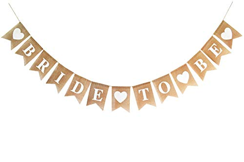 (Burlap Bride to Be Banner for Bridal Shower/Bachelorette/Engagement/Wedding Party Decorations)