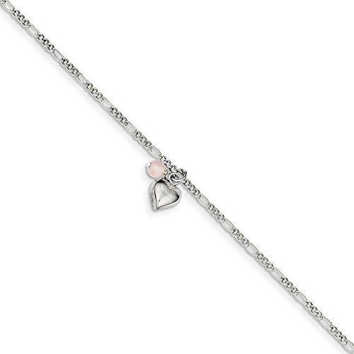 925 Sterling Silver Cherry Quartz Dangling Hearts On Figaro Link Anklet Ankle Beach Chain Bracelet Fine Jewelry Gifts For Women For Her