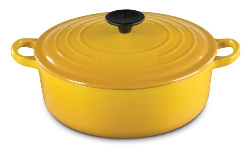Le Creuset Enameled Cast-Iron 6-3/4-Quart Round Wide French Oven, Dijon