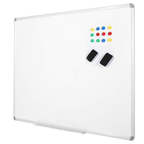 White Board 48x36 Inch, Wall Mounted Dry Erase Board, Silver Aluminium Frame Large Whiteboard with 1 Eraser, 12 Magnets ()