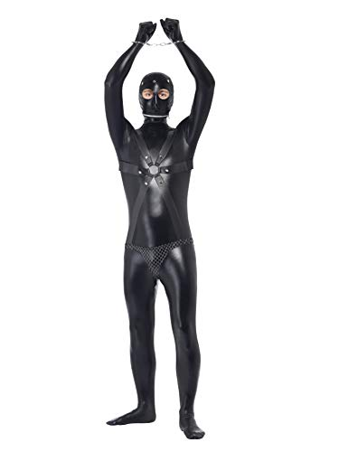 Smiffy's Men's Gimp Costume Bodysuit with Straps and Chainmail Pants, Black, L-US Size 42